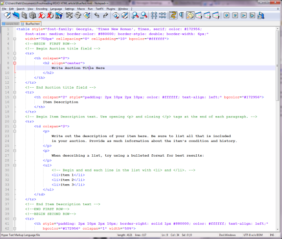 This is a sample of what the HTML coding will look like in NotePad++.
